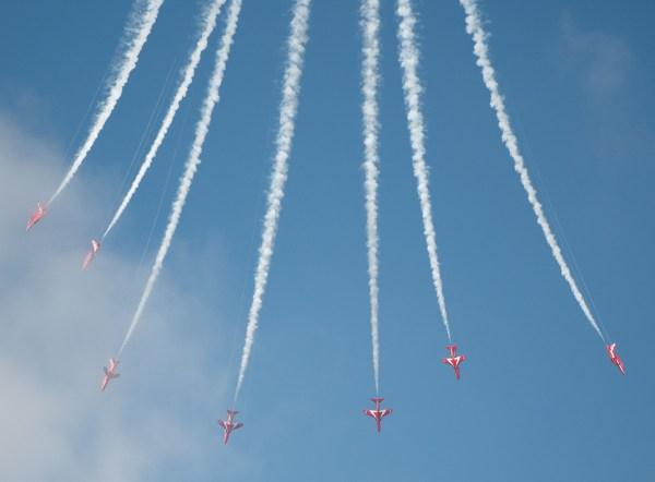 at Cromer carnivalRed Arrows flying downwards leaving vapour trails