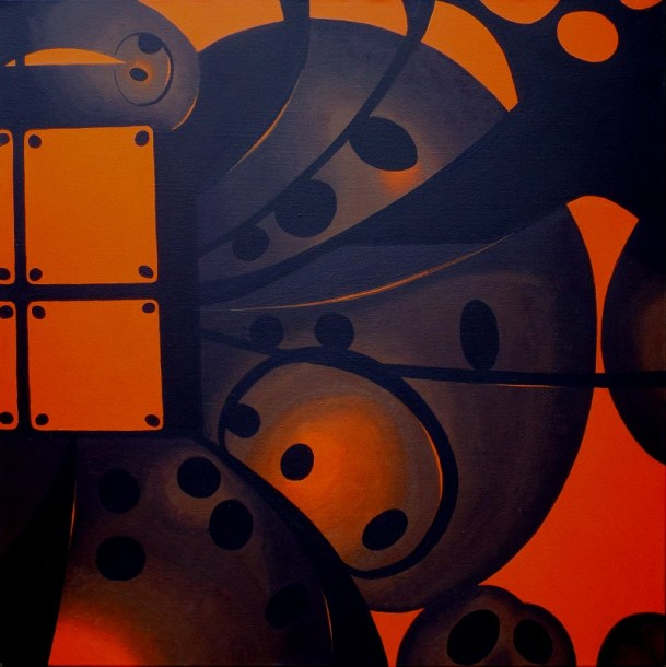 Painting. Media - Acrylic on canvas. Size - Approx 100cm x 100cm. Frame - Unframed. Title - Technology's Glow. Artist - Piers Bishop.