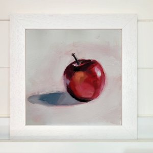 Framed oil on board, Red Apple