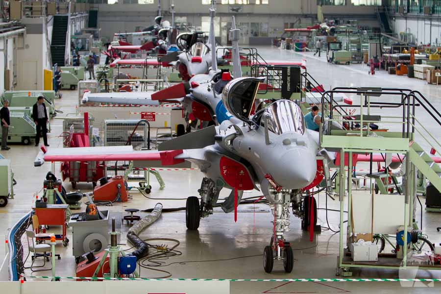 Chaine de montage Rafale à Mérignac, Dassault Aviation)