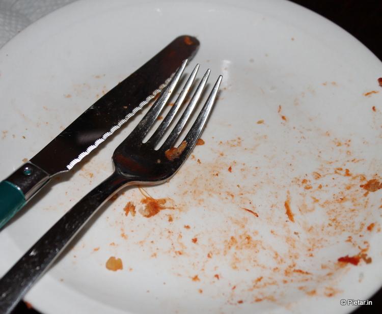 Lautanen on tyhjä.