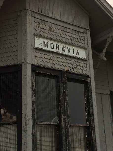 Sign for the old train depot at Moravia, Iowa