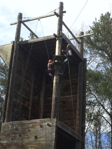 ...up the ladder to the zip-line perch