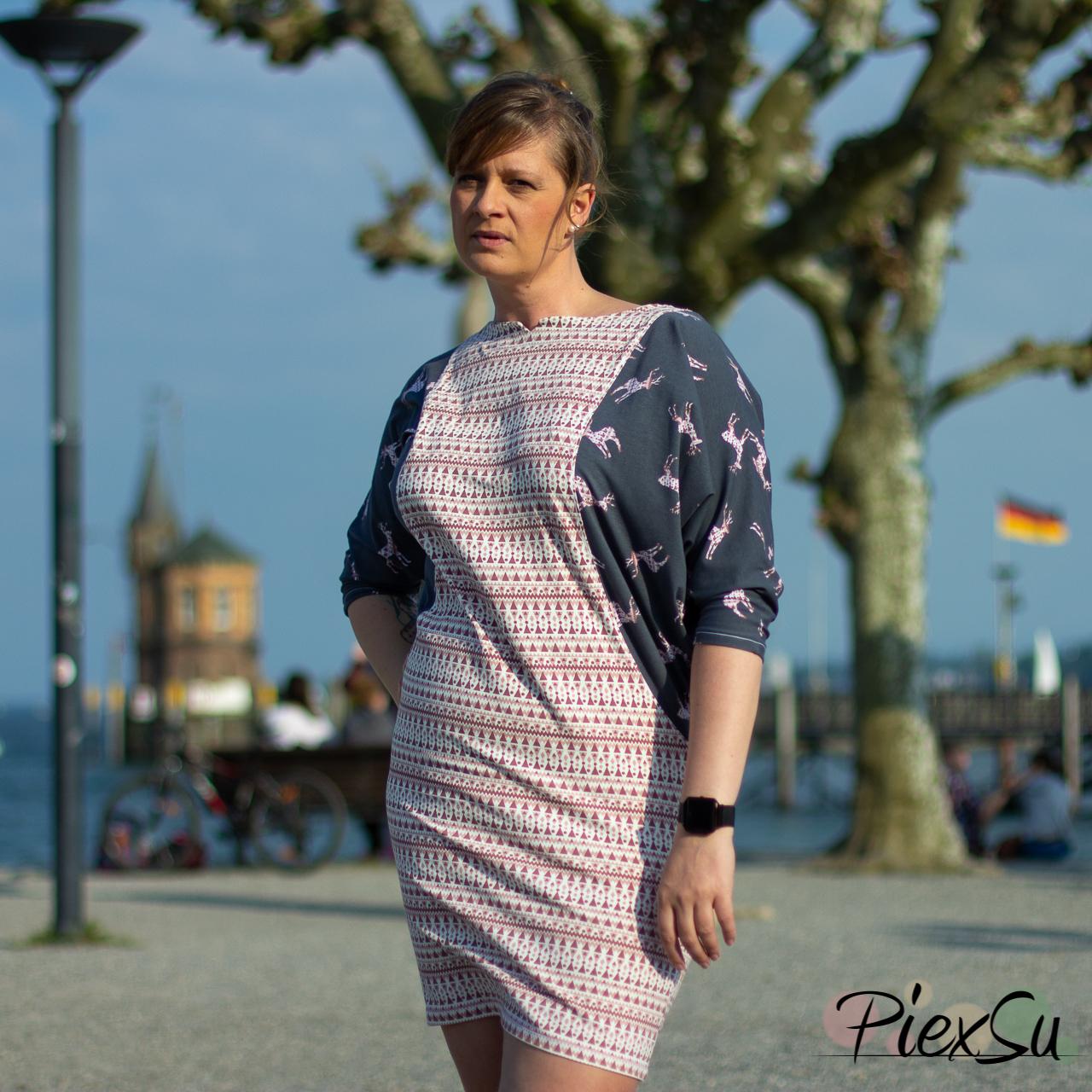 PiexSu Schnittmuster Fledermauskleid Bler nähen nähanleitung jersey-7564