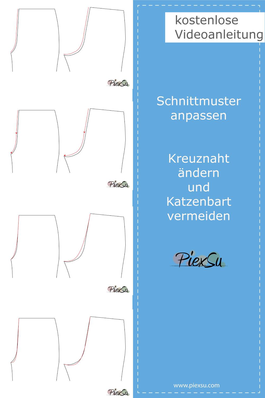 PiexSu-Schnittmuster-anpassen-Kreuznaht-ändern-Pinterest