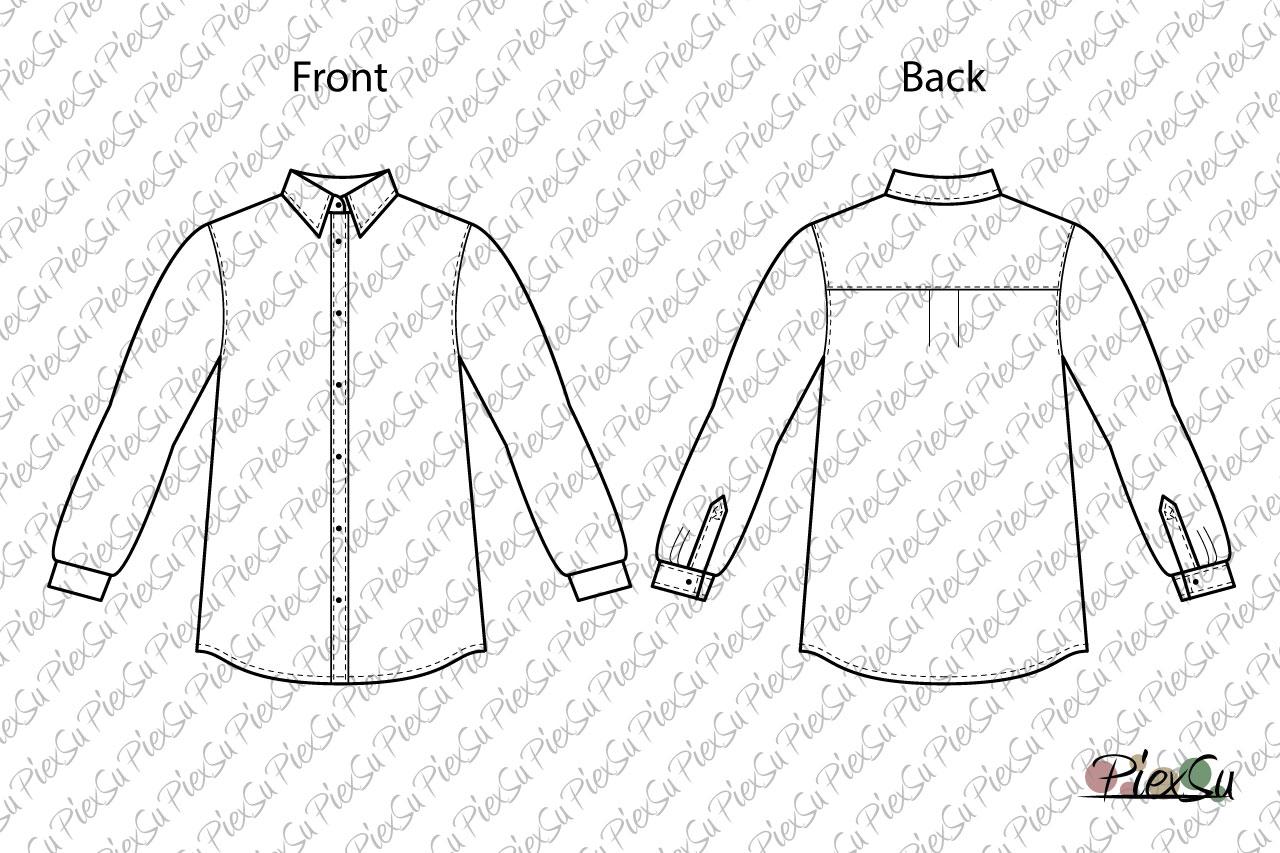 PiexSu-Schnittmuster-Hemd-Jungs-Hemd-nähen-nähanleitung-schnittmuster-knöpfe-kragen-ebook-technische-Zeichnung