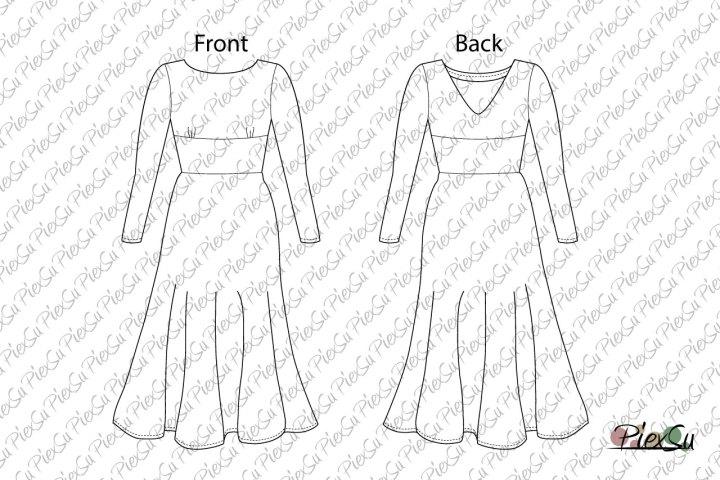 PiexSu-Schnittmuster-Petticoatkleid-Plat-Damen-technische-Zeichnung