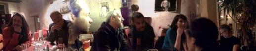 DP, Craig Taborn, Matthieu Metzger et François Corneloup (venus en voisins), Matthieu Périnaud et Mathilde Coupeau (Jazz à Poitiers), Bruno Chevillon. Image : Tim Berne