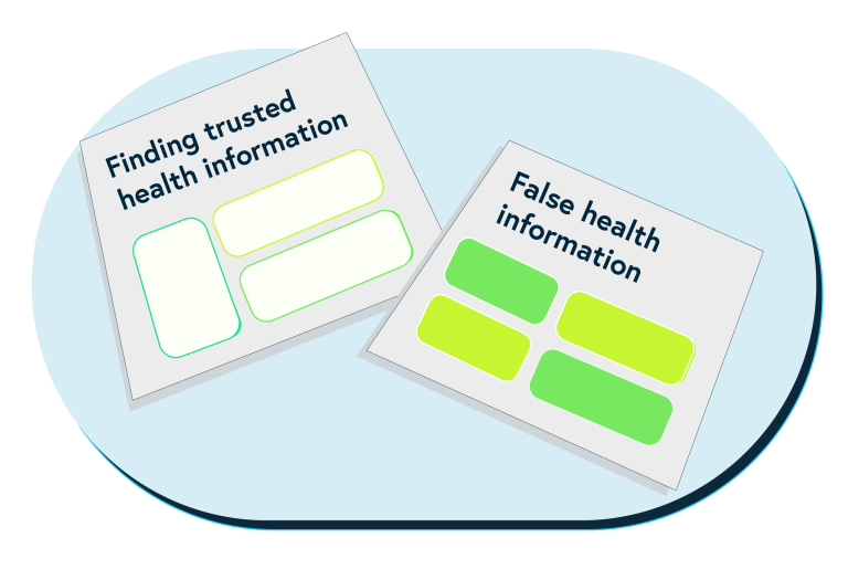 This image shows simplified versions of the covers of two of our top tips sheets – Finding trusted health information and How to spot false health information