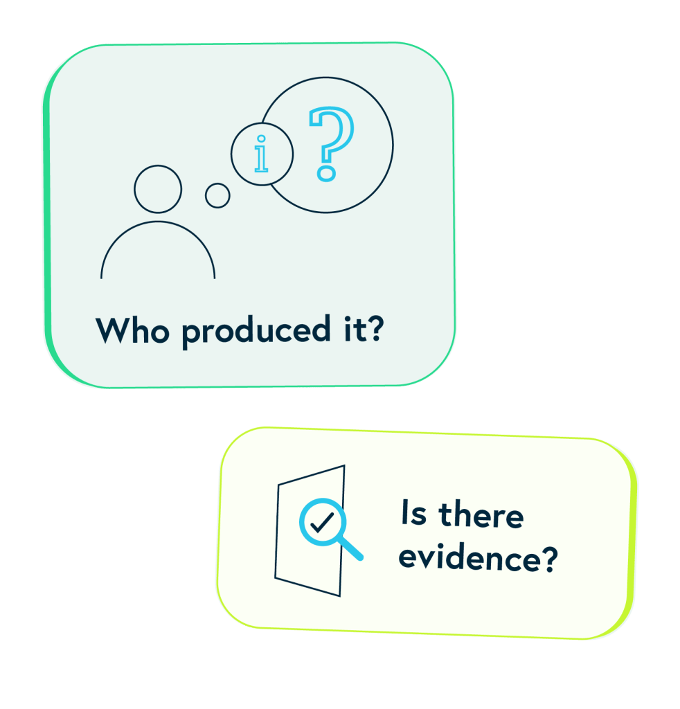 Two boxes with two questions to help you find trusted health information. Who produced it? Is there evidence?