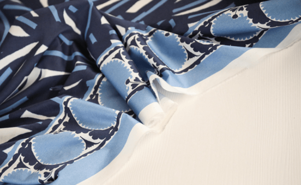 Abstract geo navy blue curve leaf printed 100% cotton satin twill garment fabric -jdby.ABC