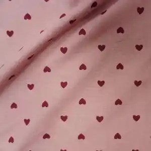 Heavy weight brushed cotton pink heart -xgchby.