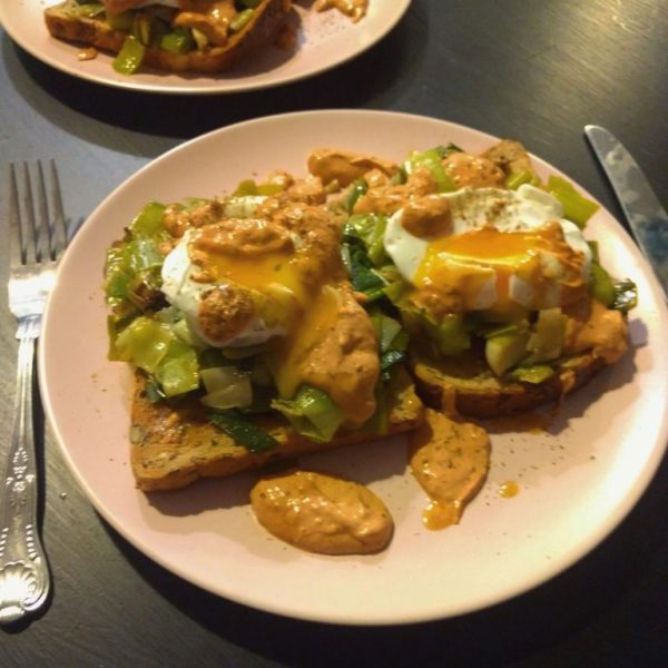 Poached Eggs with Melted Leeks and Chipotle-Tahini Dressing by Thomasina Miers Home Cook
