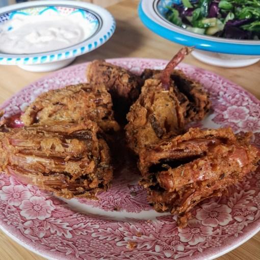 Shallot Blossoms with paprika crème fraîche | Sabrina Ghayour (Bazaar: Vibrant Vegetarian Recipes)