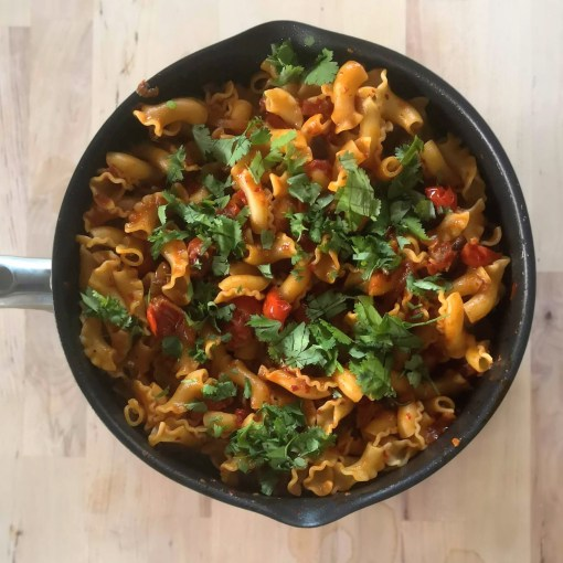 Pappardelle with rose harissa, black olives and capers   Yotam Ottolenghi (Ottolenghi Simple)