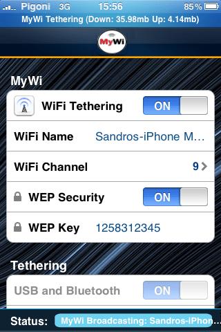 MyWi Internet Thetering