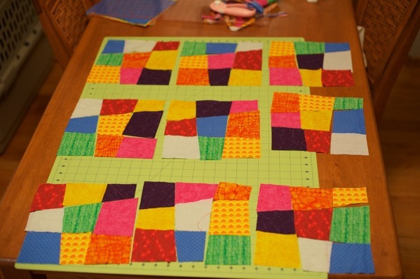 Crazy 9 patch quilt squares laid out 5279974578 o
