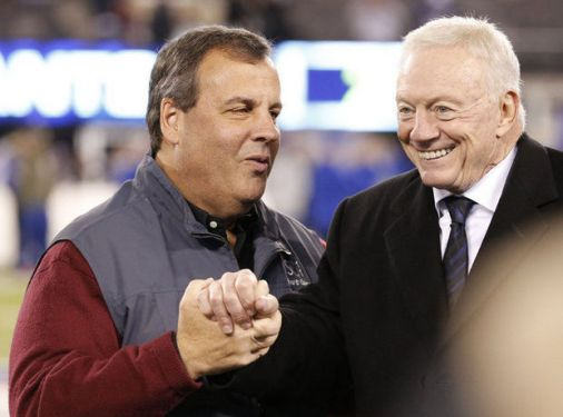 New Jersey Governor Chris Christie and Dallas Cowboys owner Jerry Jones