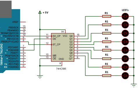 Arduino Interfacing with Shift Register IC 74HC595