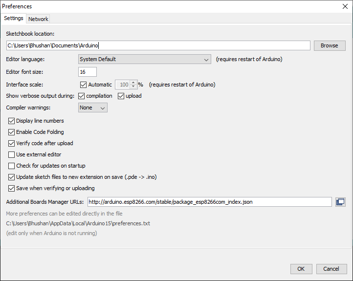 Arduino Preferences Settings