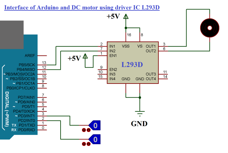 INTERFACE OF ARDUINO AND DC MOTOR USING DRIVER IC L293D