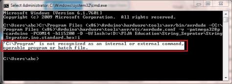 C Program not recognized as an internal or external command