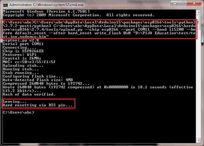 HOW TO UPLOAD .bin FILE IN ESP8266 USING COMMAND PROMPT