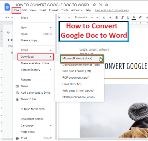 How to convert google doc to word
