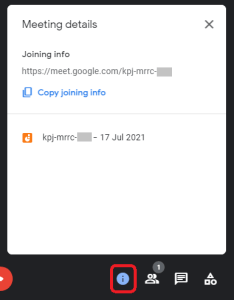 Google Meet Meeting Information