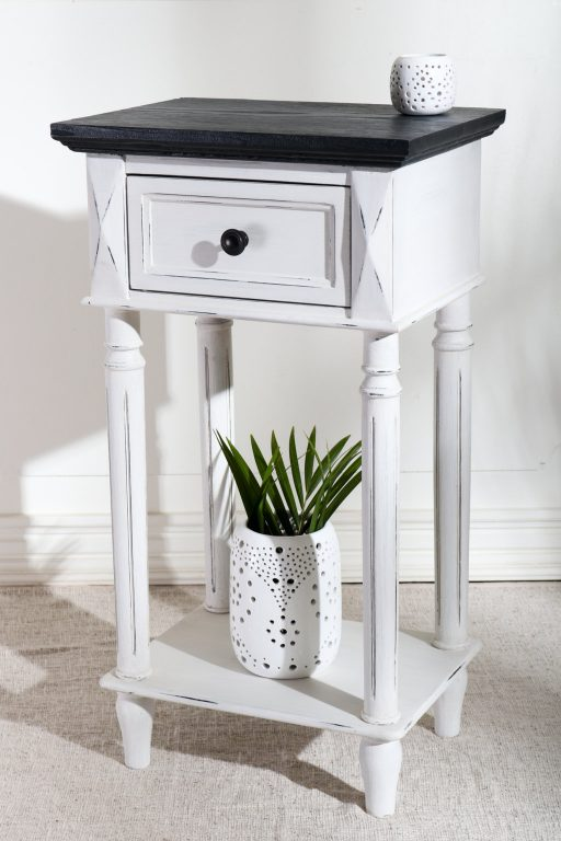 White painted French style nightstand is Indonesian furniture used for import and export