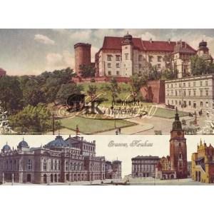 Pocztówka XIX wieczny trójdzielną planszę z widokiem Wawelu