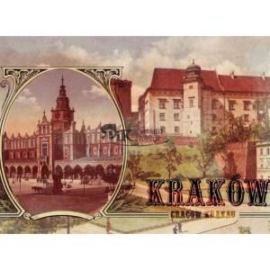 Pocztówka XIX wieczny widok Rynku Głównego z Sukiennicami oraz Wawelem