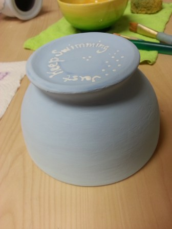 This bowl has a reminder on the bottom, to just keep swimming. :)