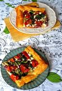 spinach, caramelised red onions, baked cherry tomatoes and cheese puff pastry tart