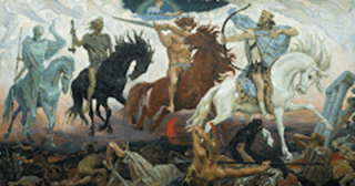 Four Horsemen of Apocalypse, by Viktor Vasnetsov. Painted in 1887;  Viktor Vasnetsov [Public domain], via Wikimedia Commons