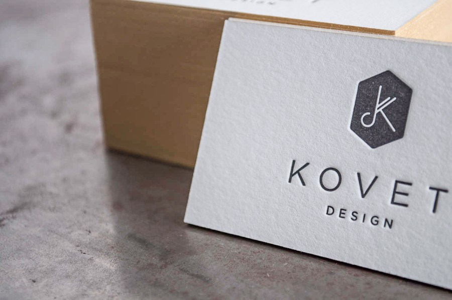 Kovet Design Letterpress Business Cards     Pike Street Press Kovet Design Letterpress Business Cards