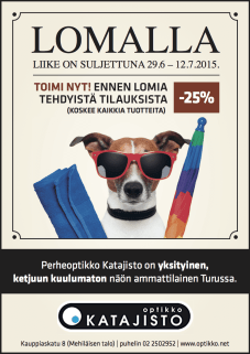 Optikko Katajiston lehtimainos.