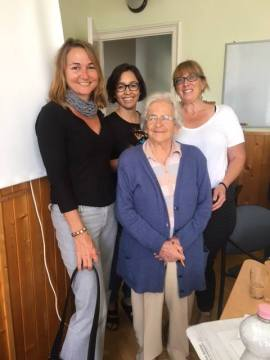 Larissa Neilson, Heather Porteous and Executive Board of Trustees member Nicole Vigliotti, photographed with Anna Tardos at Loczy in Budapest, Hungary.