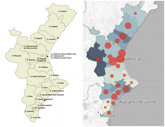 Valencian Community contagion map according to the Generalitat
