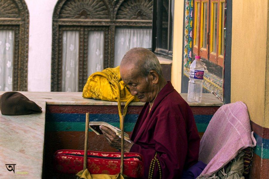 Old monk Boudhanath Stupa Kathmandu