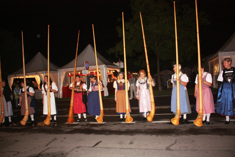 Long Alphorns in Yodelling festival Interlaken Switzerland