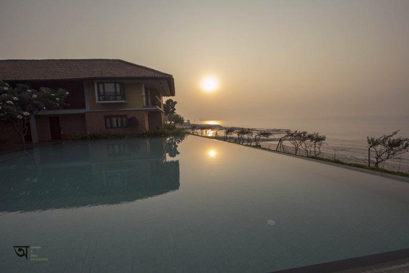 The beautiful sunrise at Ganga Kutir