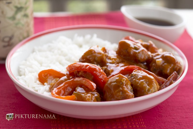 chicken nuggets in sweet and sour sauce by pikturenama ready to serve