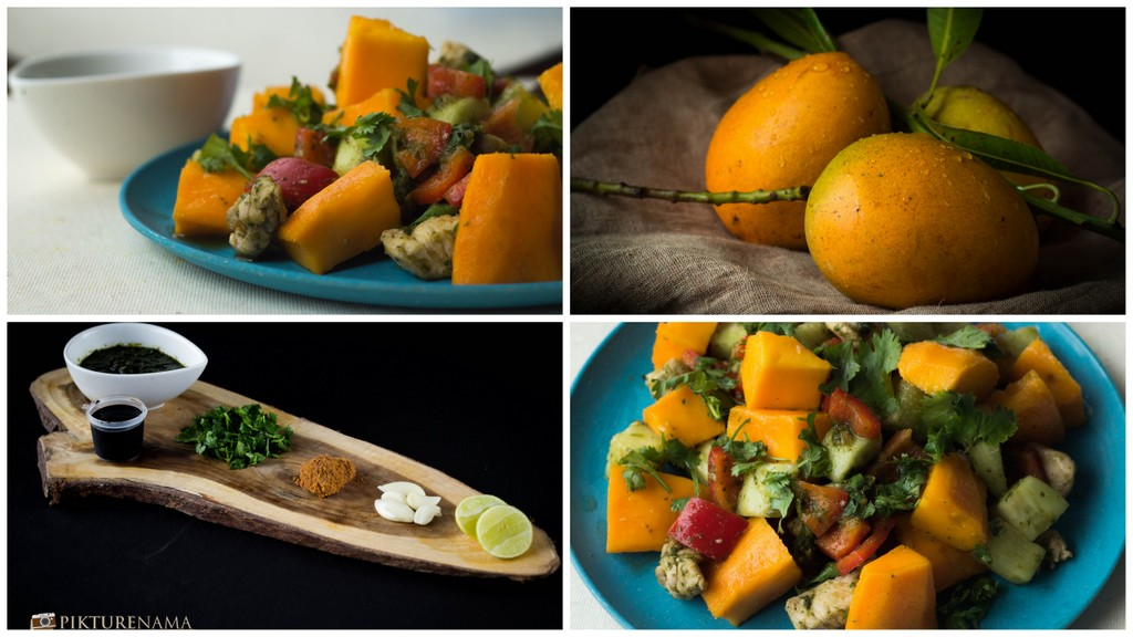 Mango Chicken Salad with zesty coriander and chili dressing
