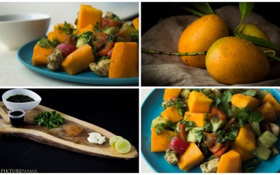 Mango Chicken Salad with zesty coriander and chili dressing