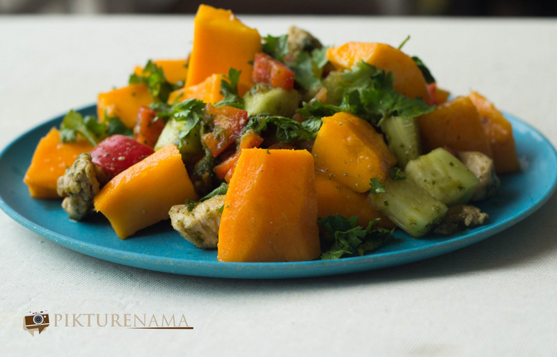Completed Mango Chicken salad with zesty coriander and chili dressing