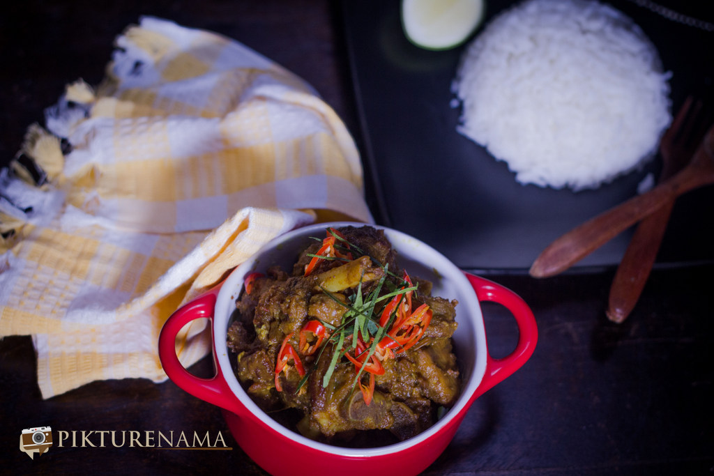 Rendang Curry with Mutton complete dish served with rice