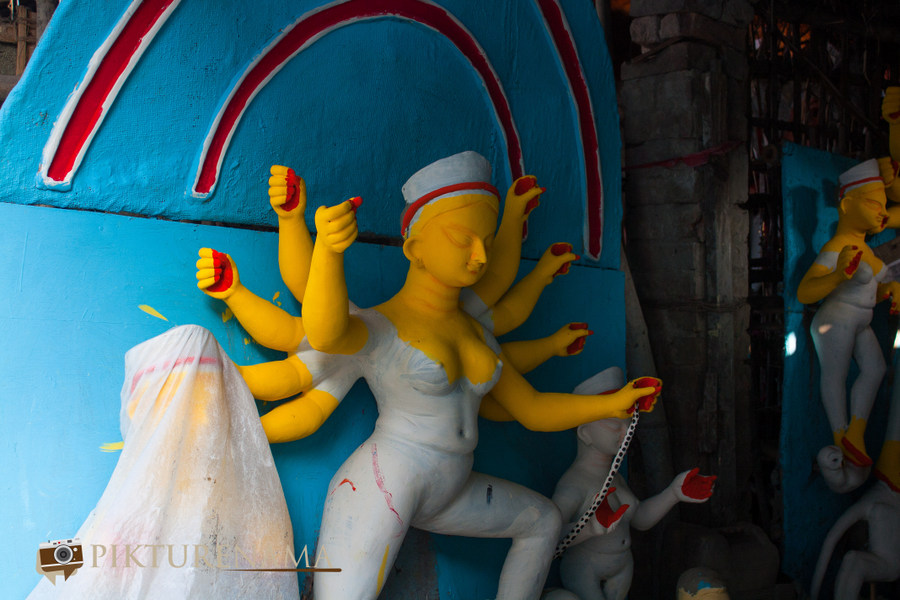 Elements of Durga Puja prayers Earth Kumartuli