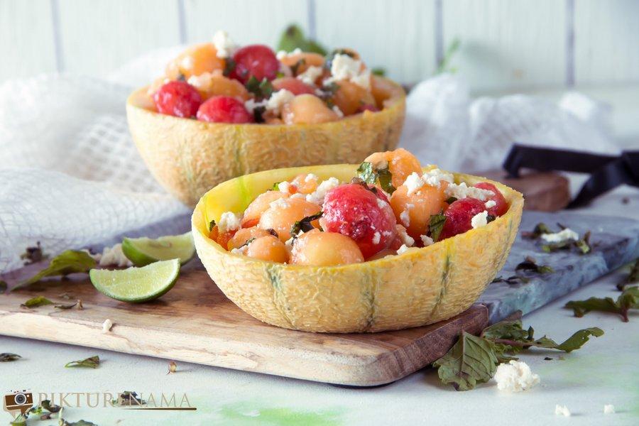 How to make frozen melon ball salad -1