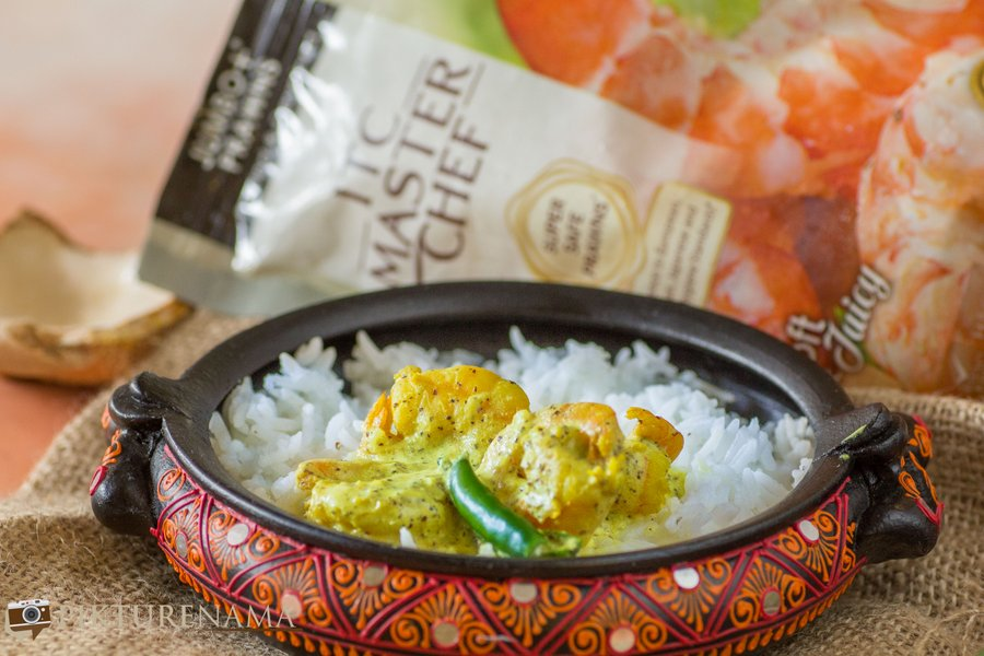 Daab Chingri with ITC Master Chef Prawns with bhaat
